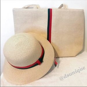 💥2 ITEM DEAL💥🆕GET BEIGE STRAW HAT & TOTE BAG